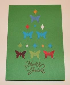 Joulukortti kuusen muoto