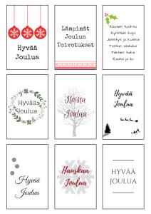 Tulosta pakettikortit joululahjoihin